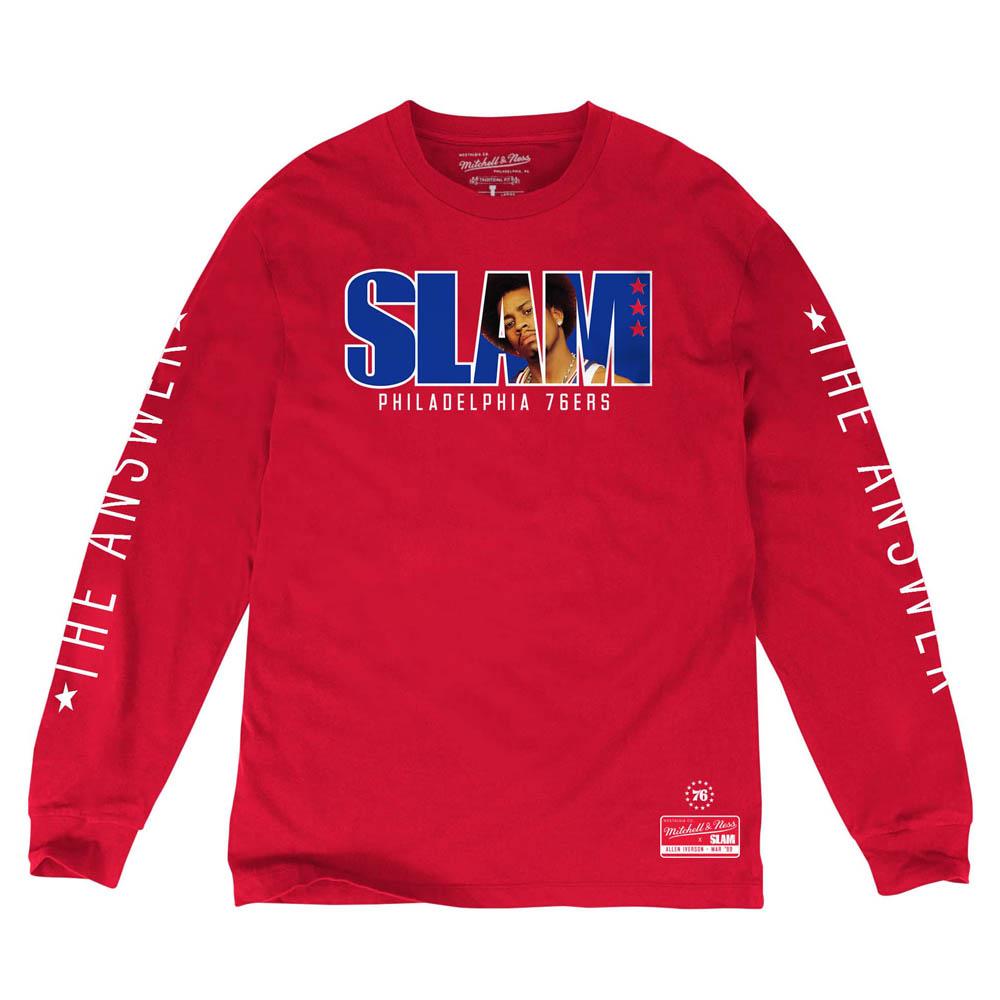 NBA Tシャツ 76ers アレン・アイバーソン ロング SLAM/スラム 表紙ロゴ Mitchell & Ness レッド【1910価格変更】【1911NBAt】