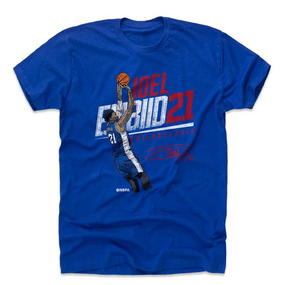 NBA Tシャツ 76ers ジョエル・エンビード プレーヤー アート シューター 500Level ロイヤルブルー【1910価格変更】【1911NBAt】
