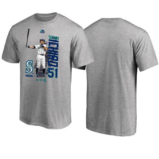 ご予約 MLB マリナーズ イチロー Tシャツ ICHIRO グラフィック MLB開幕戦 マジェスティック/Majestic グレー【1910価格変更】【1112】