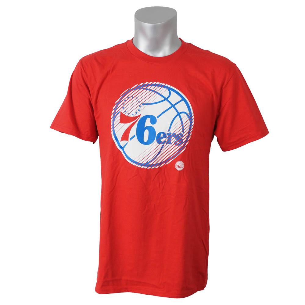 シンプルおしゃれ 本物 NBAスラッシュ柄ロゴTシャツ NBA Tシャツ 76ers スラッシュ レッド Majestic ダッシュ 激安通販ショッピング メンズ OCSL マジェスティック
