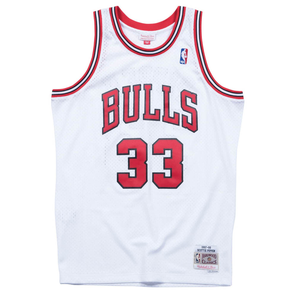 Chicago Bulls #33 Scottie Pippen Basketball Mesh jersey White Size XXL S