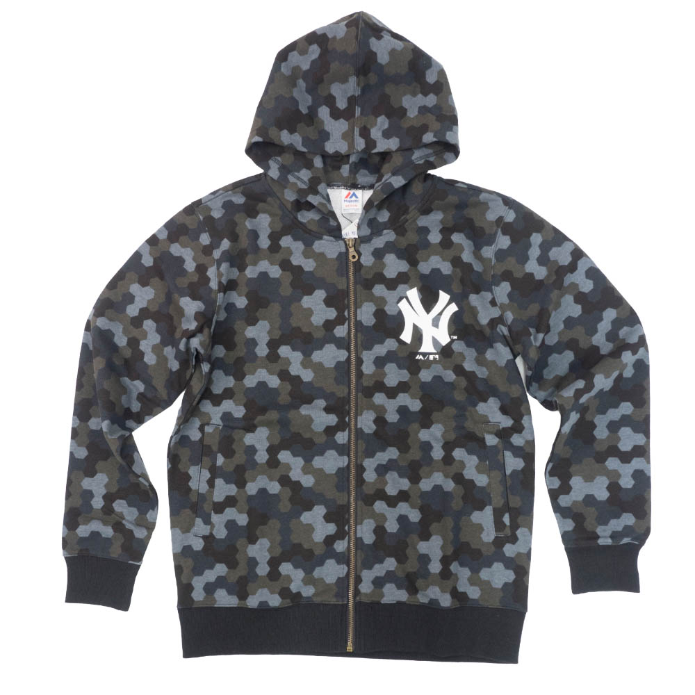 MLB パーカー ニューヨーク・ヤンキース フーディー トータル ハンドル カモ フル ジップ マジェスティック/Majestic ブラックカモ【MLB1911p】