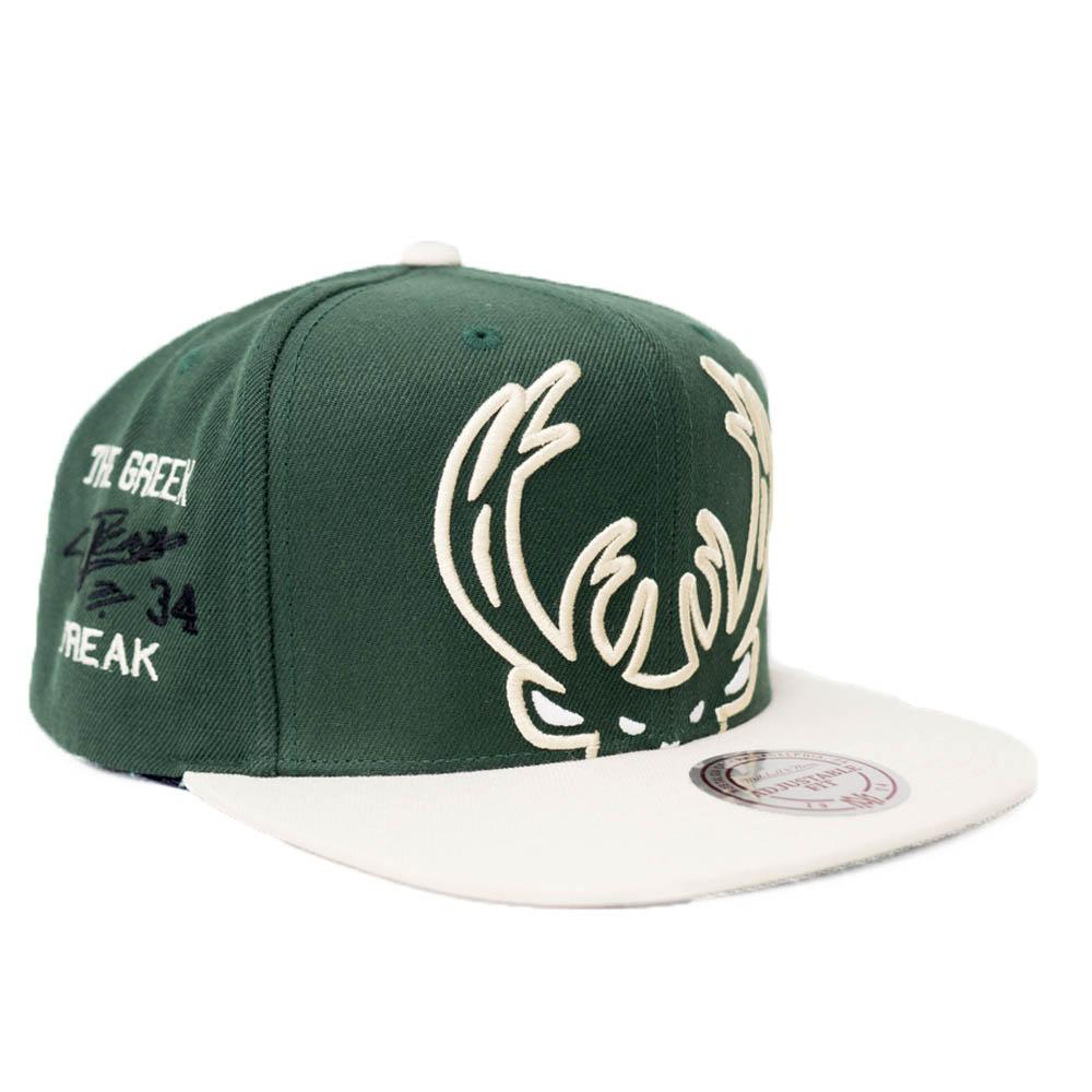 ヤニス・アデトクンボ ミルウォーキー・バックス キャップ/帽子 NBA サイン刺繍 ロゴ スナップバック Mitchell & Ness グリーン