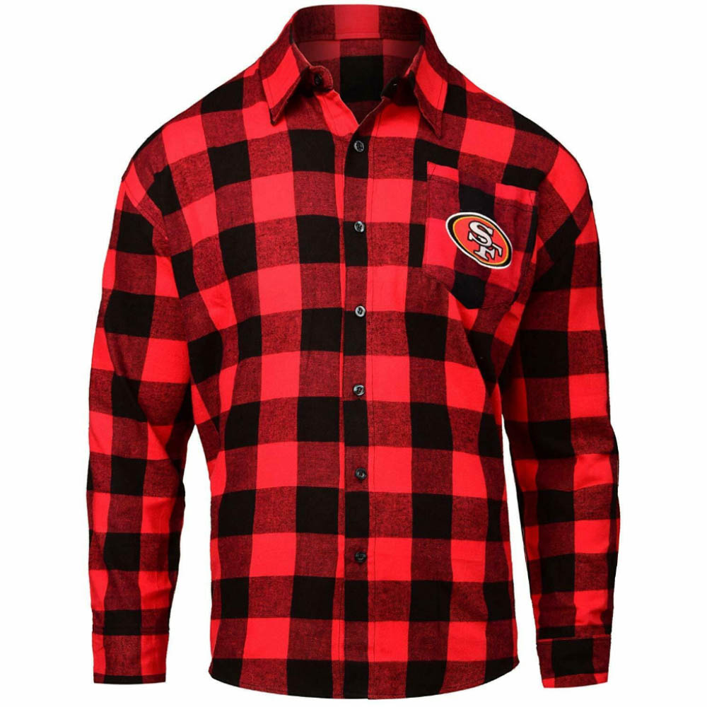 スーパーボウル進出 NFL 49ers シャツ チェックシャツ ロングスリーブ Forever Collectibles レッド