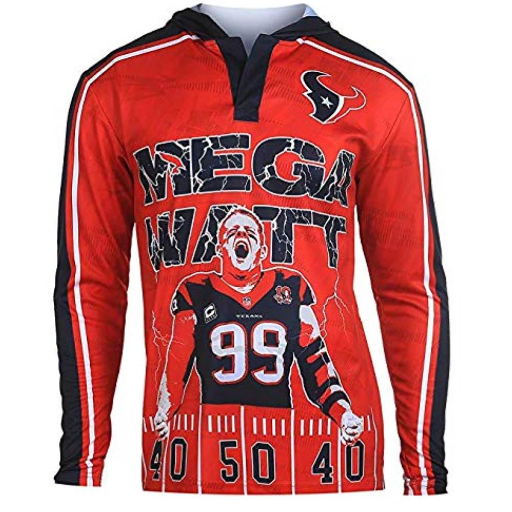 NFL J.J.・ワット テキサンズ Tシャツ 2015 ポリエステル プレーヤー フーディー Klew レッド