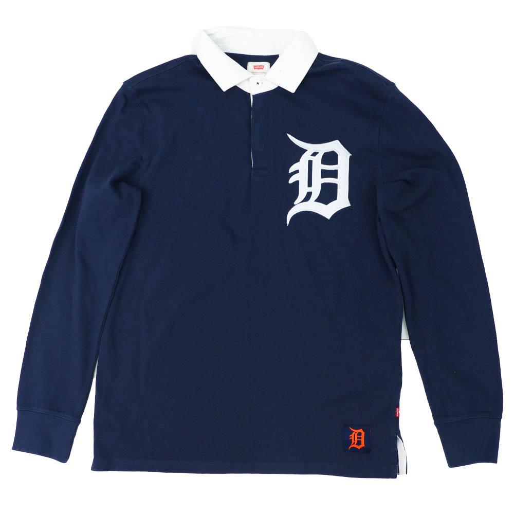 MLB タイガース Long Sleeve ラグビーシャツ Levi's ネイビー