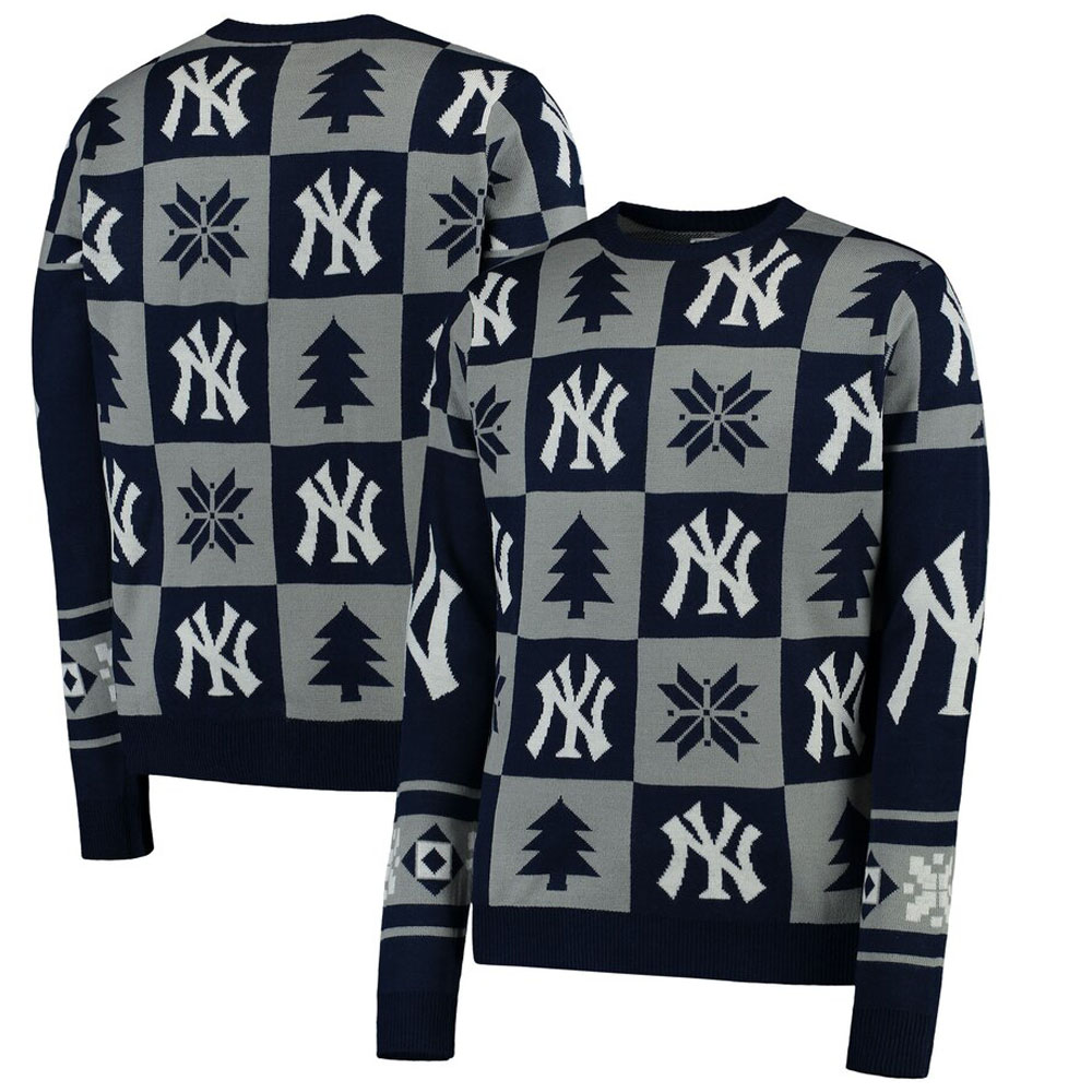 MLB ニューヨーク・ヤンキース ニットセーター Patches Ugly Sweater Forever Collectibles ネイビー