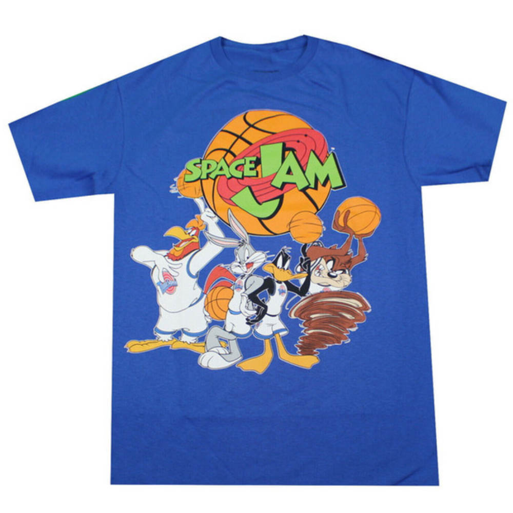 Movie Tシャツ ルーニー・テューンズ スペース・ジャム グループショット ロイヤル