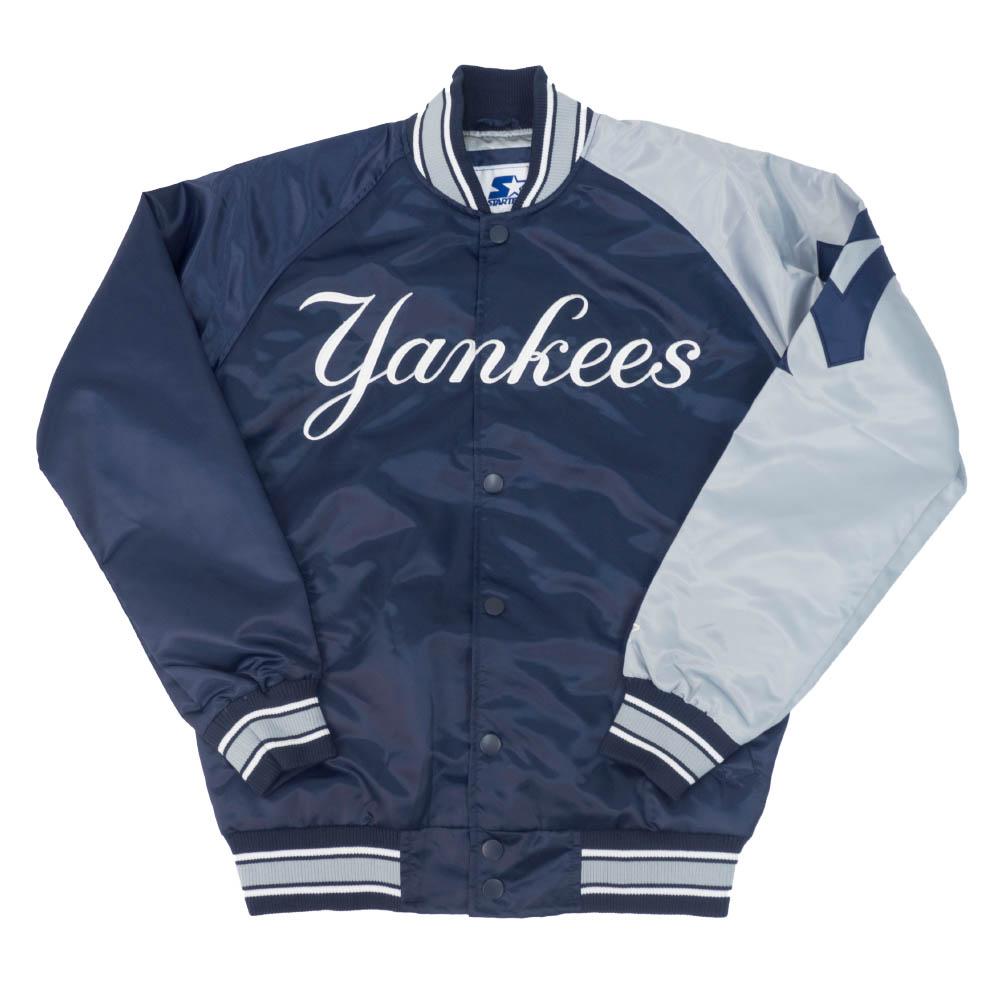 【リニューアル記念メガセール】MLB ニューヨーク・ヤンキース ジャケット/アウター 2トーン アーム サテン STARTER ネイビー