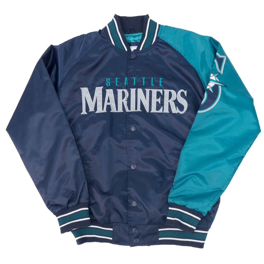 【リニューアル記念メガセール】MLB シアトル・マリナーズ ジャケット/アウター 2トーン アーム サテン STARTER ネイビー