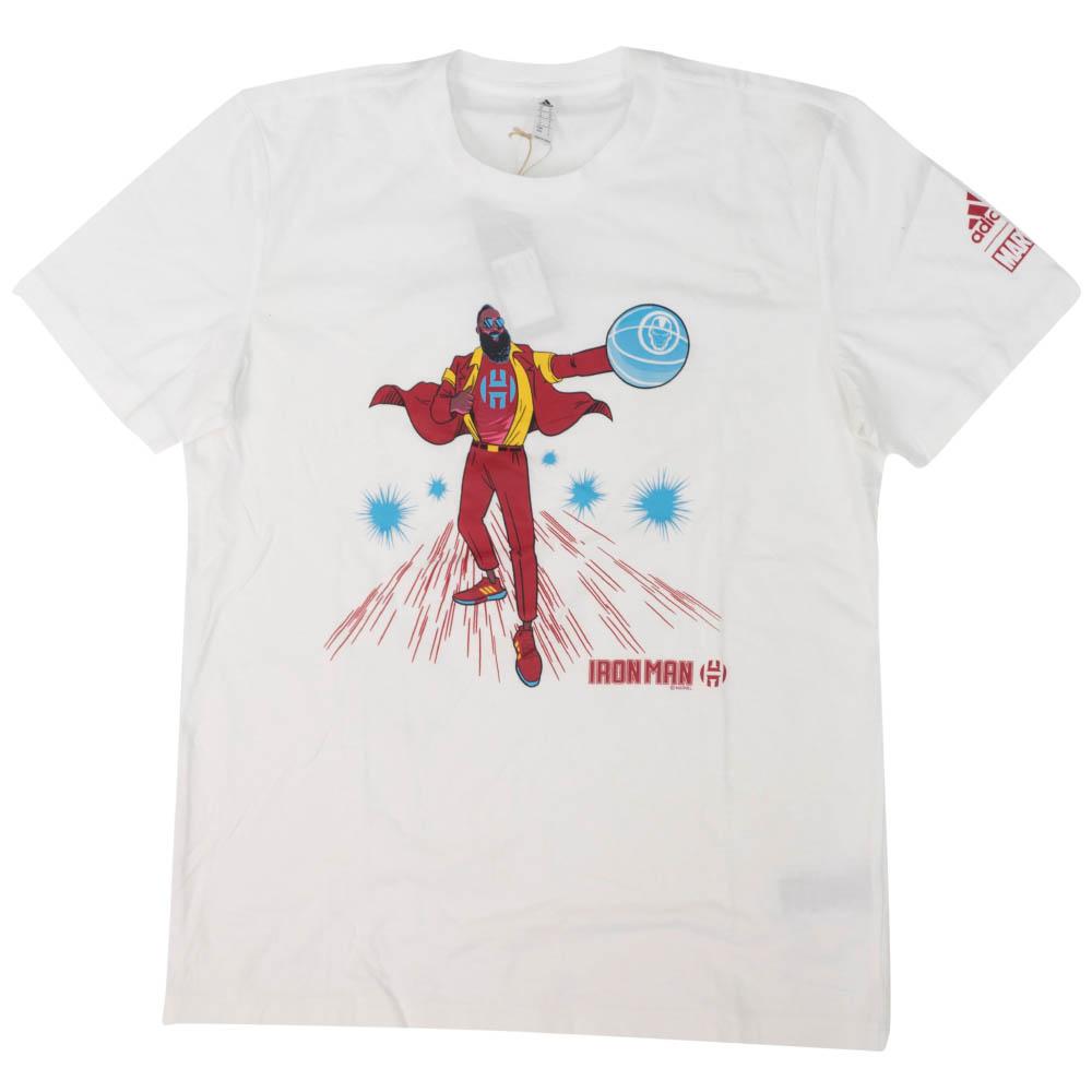 NBA ジェームス・ハーデン Tシャツ マーベル ハーデン アイアンマン アディダス/Adidas ホワイト