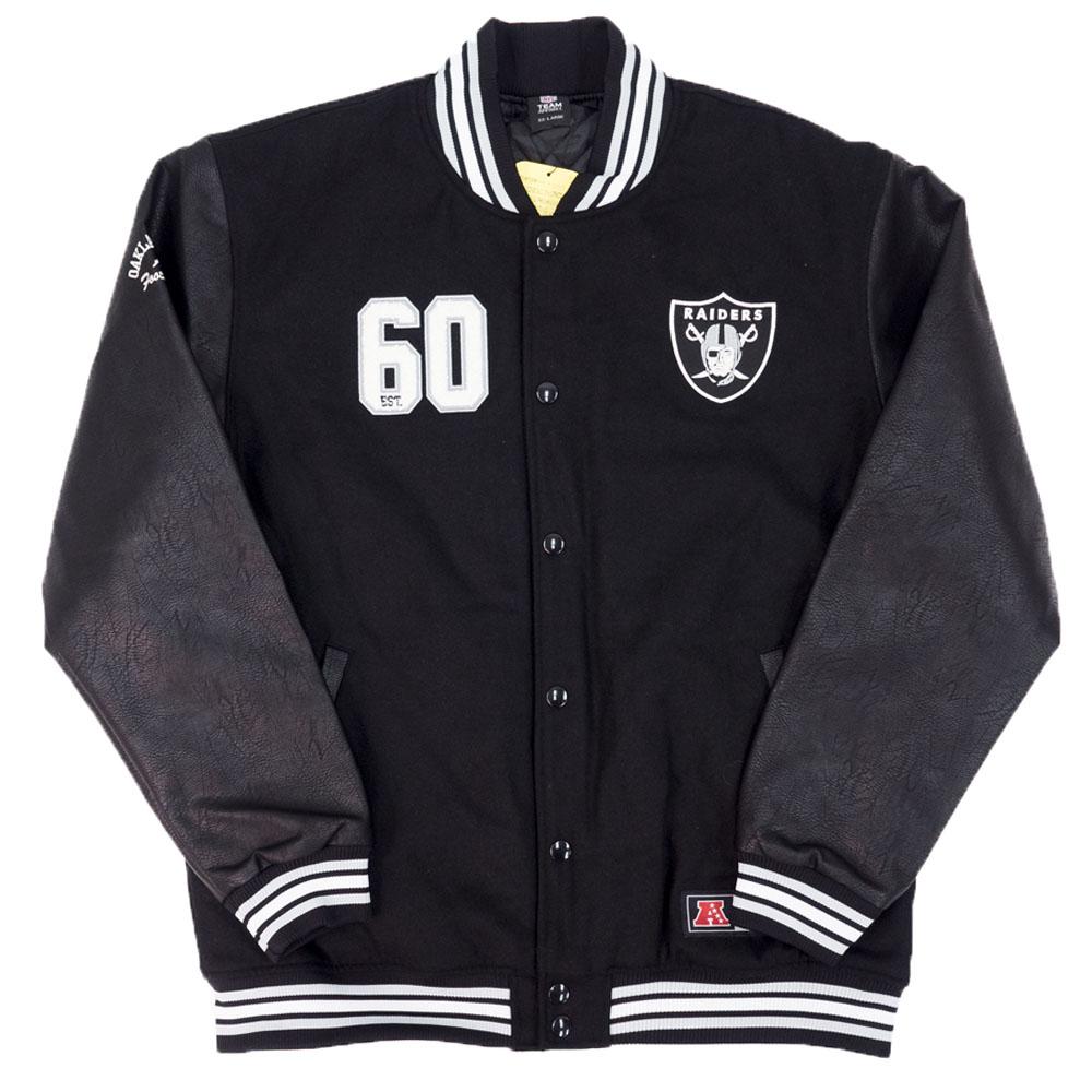 NFL レイダース ジャケット/アウター メルトンフェイクレザージャケット マジェスティック/Majestic ブラック