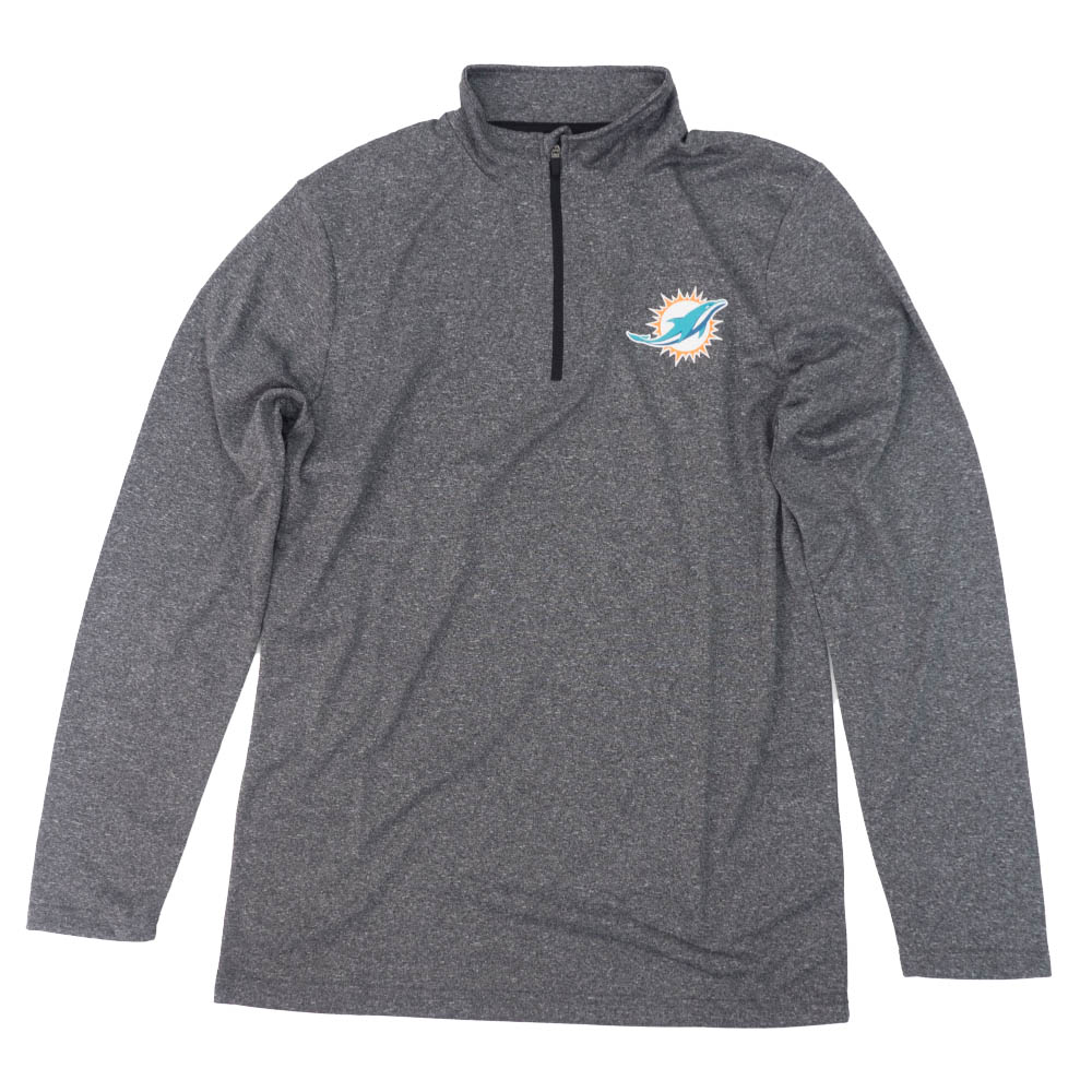 NFL ドルフィンズ Tシャツ Quarter-Zip Pullover L/S T-Shirt ICER BRANDS チャコール