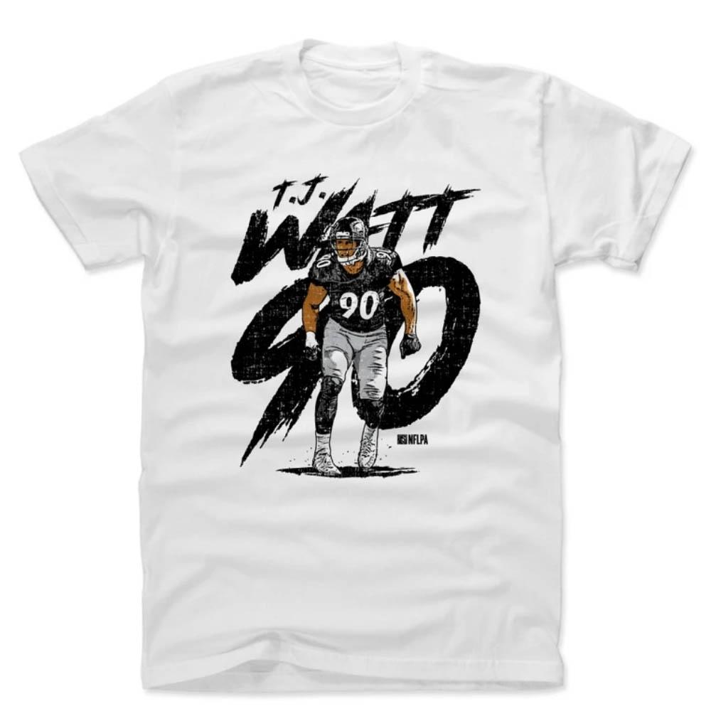 日本未発売 500Level×NFL選手アートTEE NFL T.J.ワット スティーラーズ Tシャツ 500Level ホワイト 期間限定特価品 Cotton T-Shirt Player 初回限定 Art