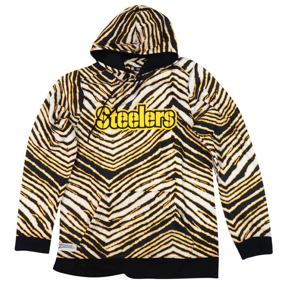 NFL スティーラーズ パーカー/フーディー Zebra Print Touchdown Hoodie Zubaz ブラック