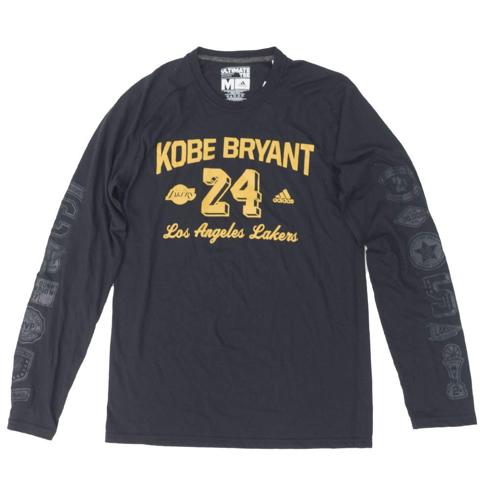 NBA コービー・ブライアント ロサンゼルス・レイカーズ Tシャツ Kobe Milestone Career L/S T-Shirt アディダス/Adidas ブラック