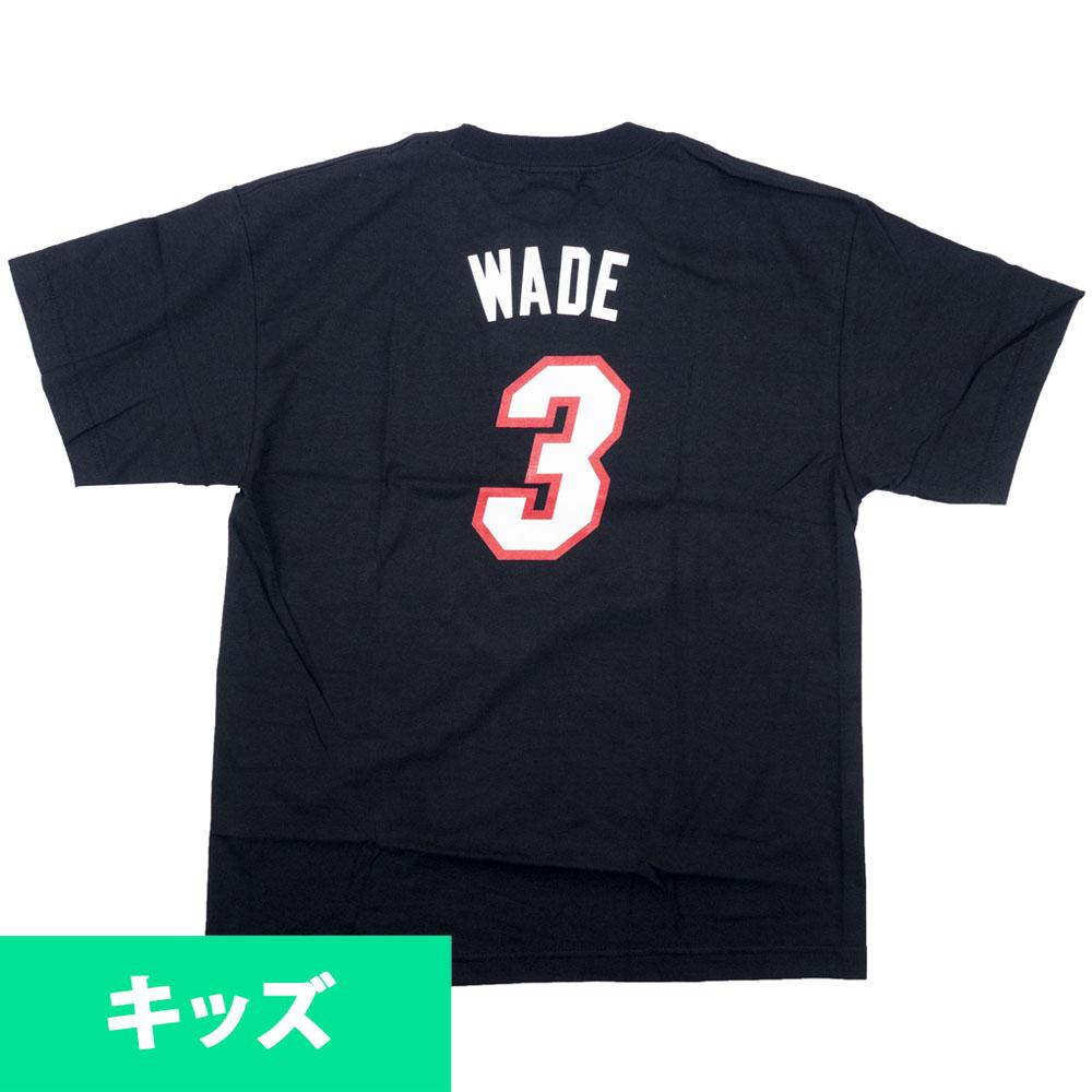 あす楽対応 ヒート時代のドウェイン ウェイド氏ユースサイズTシャツ NBA ドウェイン ウェイド マイアミ ヒート 無料 OCSL ナンバー 有名な ブラック ユース アディダス Tシャツ ネット Adidas