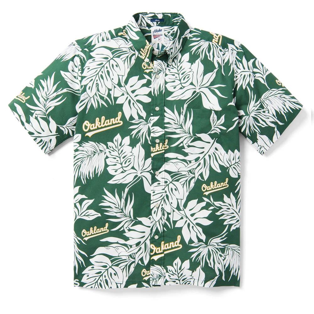 MLB オークランド・アスレチックス アロハ ハワイアン シャツ Reyn Spooner グリーン