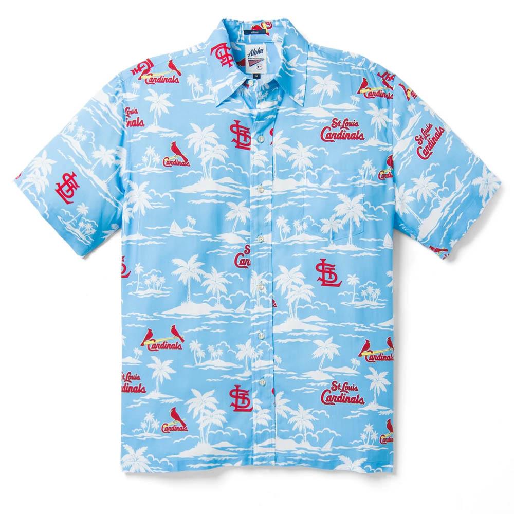 MLB セントルイス・カージナルス ビンテージ ハワイアン シャツ Reyn Spooner ライトブルー