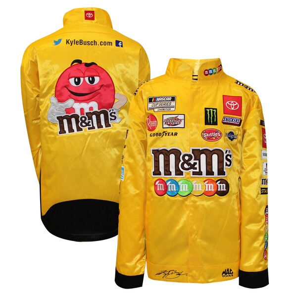 NASCAR カイル・ブッシュ エム&エムズ ジャケット/アウター Full Snap Pit Jacket Joe Gibbs Racing イエロー