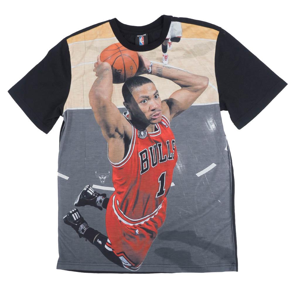 NBA デリック・ローズ シカゴ・ブルズ Tシャツ フォト UNK ブラック