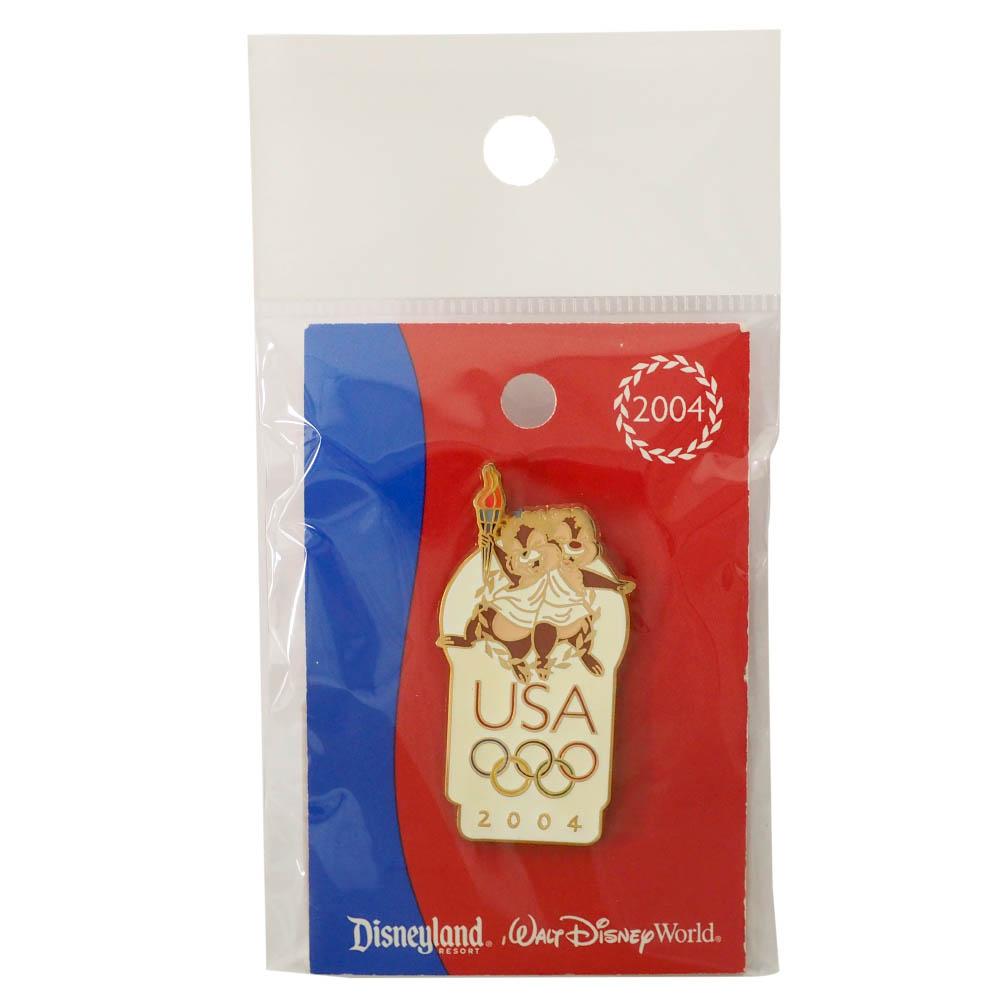 アメリカ代表 ディズニー 2004 アテネ?USA Logo Pin : Chip & Dale Torch Wreath ピンバッチ ピンズ Disney