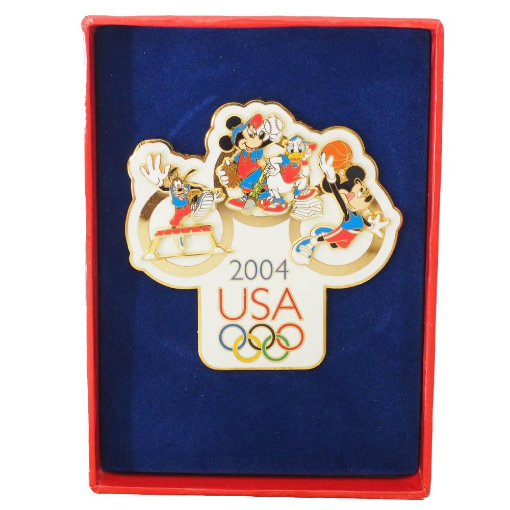アメリカ代表 ディズニー 2004 アテネ USA Jumbo Pin LE1000 : Mickey, Donald. Goofy ピンバッチ ピンズ Disney
