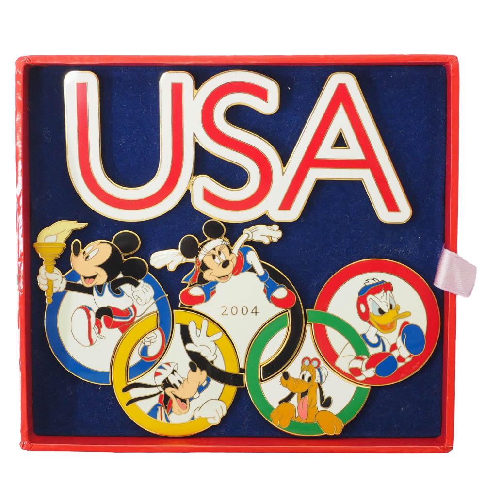 アメリカ代表 ディズニー 2004 アテネ USA Logo Rings Pin Box (1000 Limted) ピンバッチ ピンズ Disney