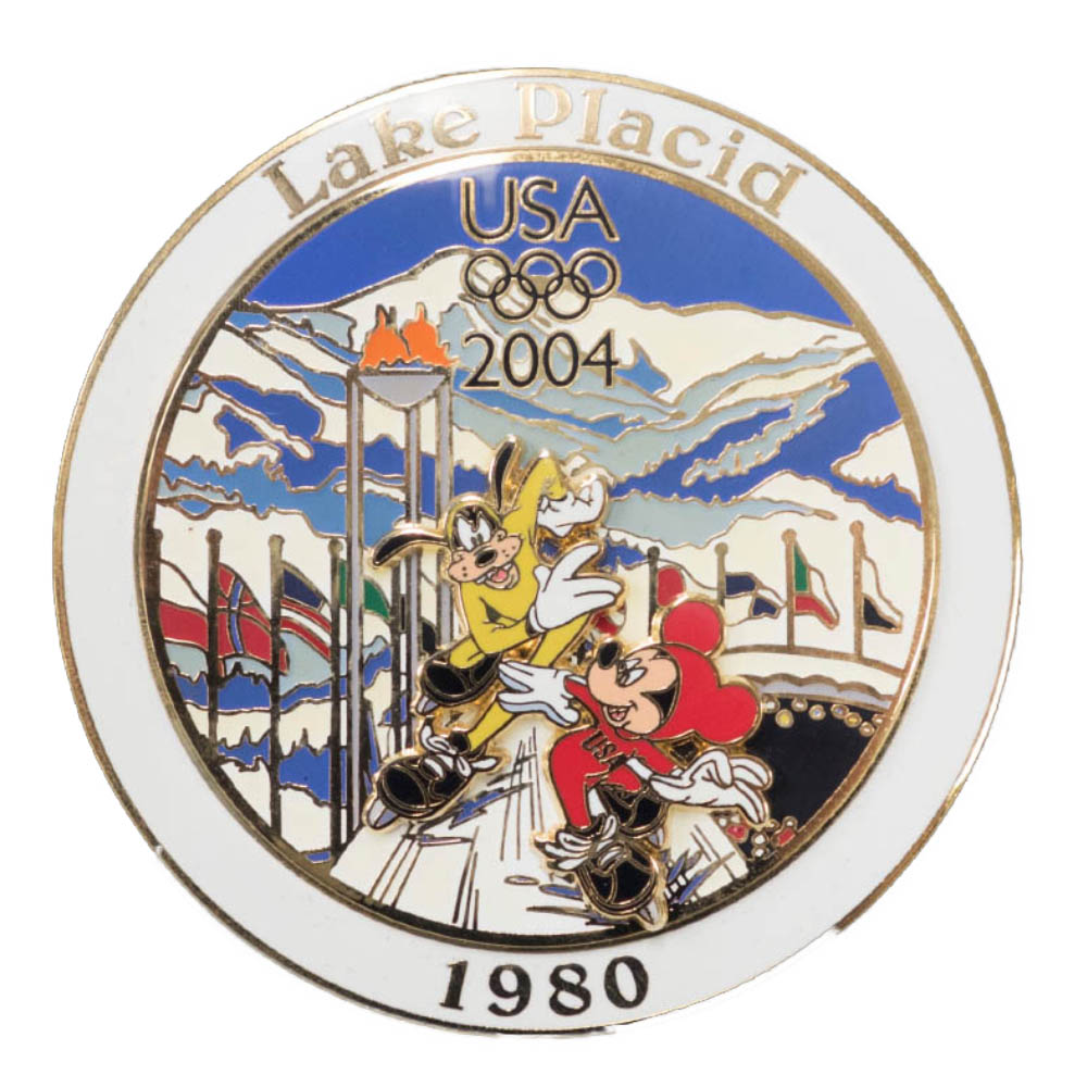アメリカ代表 ディズニー USA Jumbo 2004 Pin LE 750 : 1980 レークプラシッド (Mickey Mouse) ピンバッチ ピンズ Disney