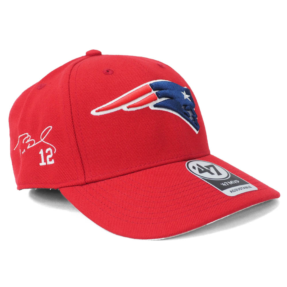 NFL トム・ブレイディ ペイトリオッツ キャップ/帽子 サイン刺繍入り MVP 47 Brand レッド