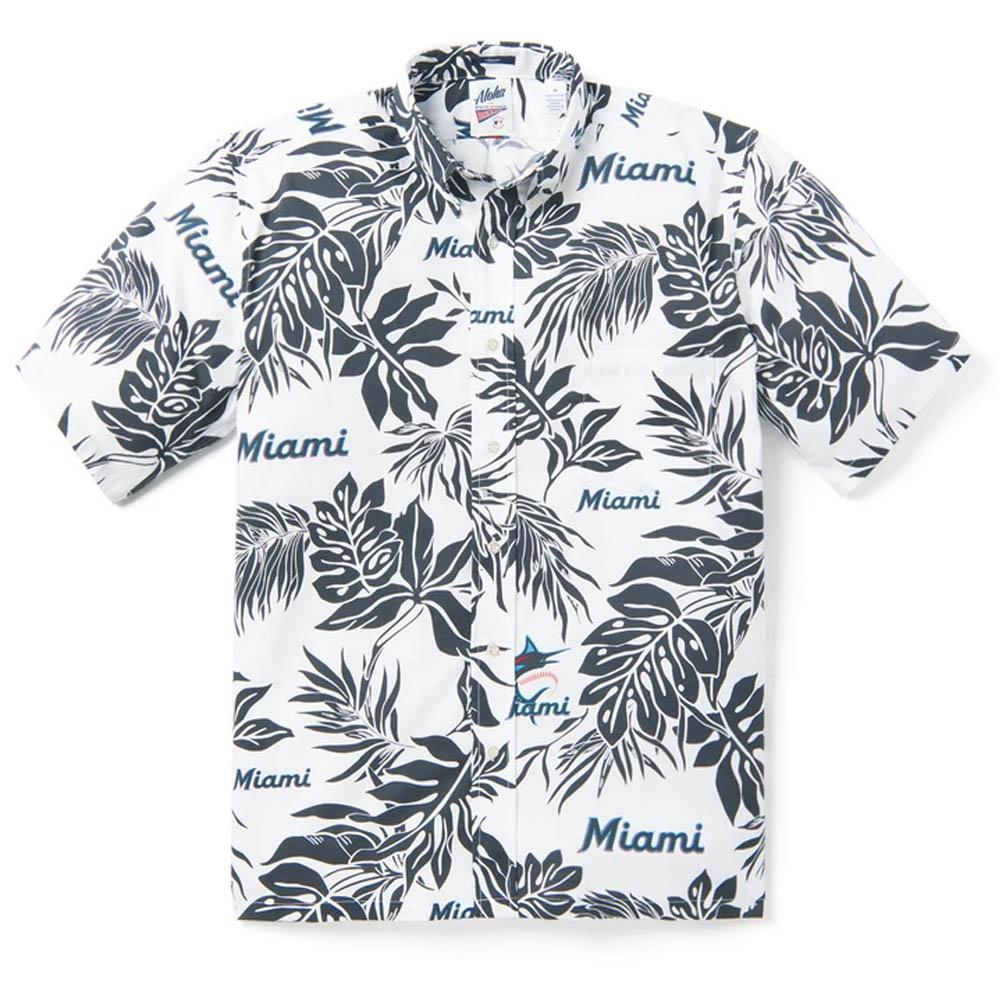 MLB マイアミ・マーリンズ アロハシャツ ハワイアンシャツ Reyn Spooner ホワイト