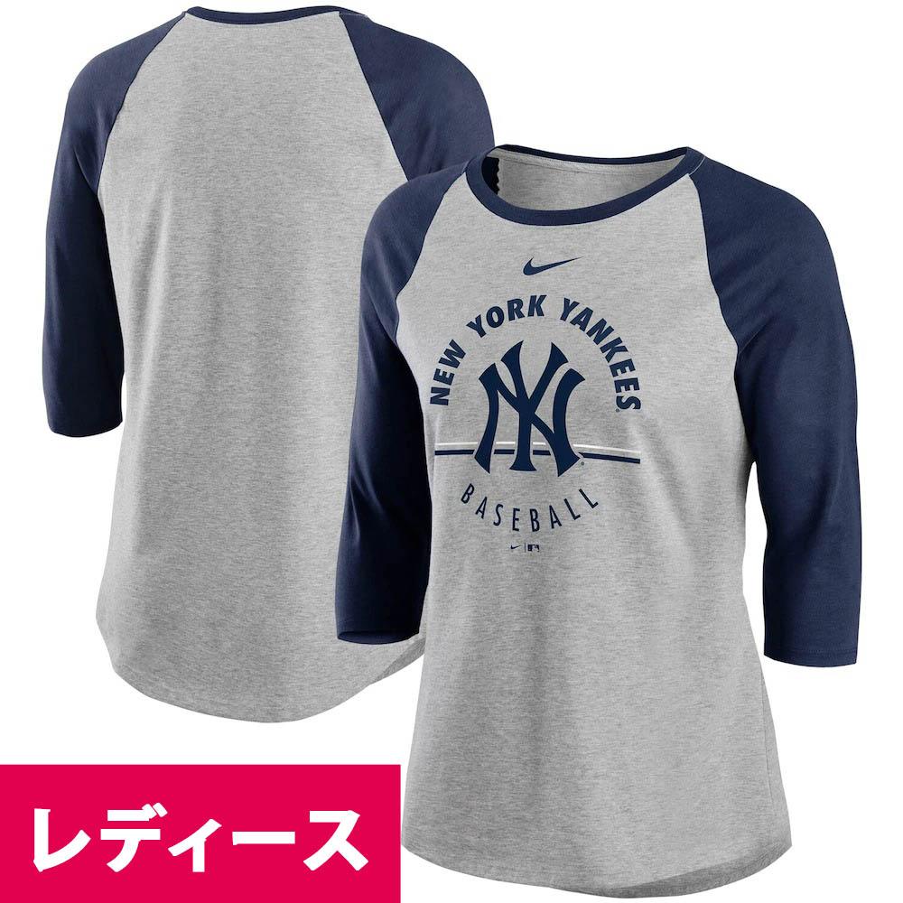 MLB ニューヨーク・ヤンキース Tシャツ ウィメンズ エンサークル トライブレンド 3/4スリーブ ラグラン ナイキ/Nike グレー ネイビー
