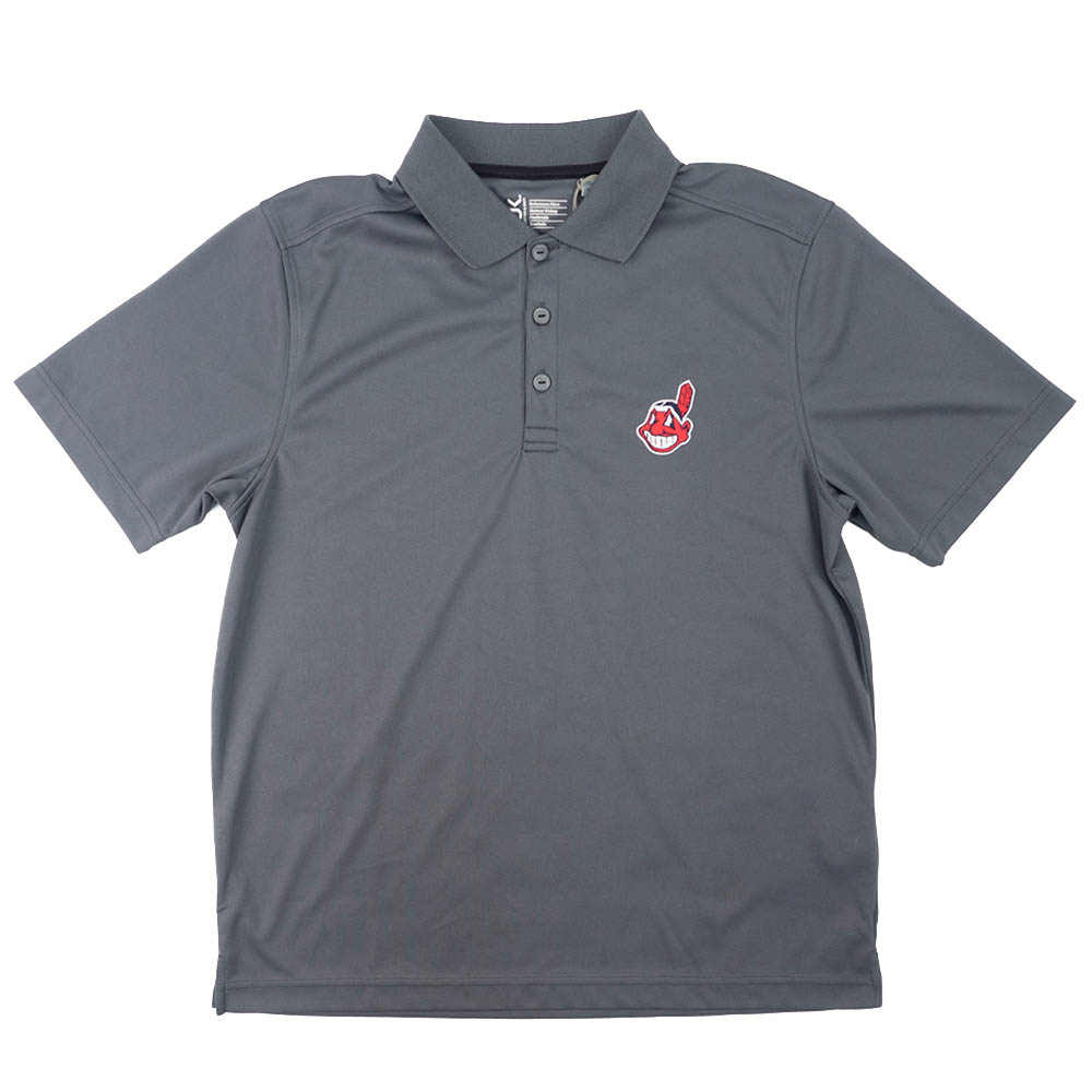 MLB クリーブランド・インディアンス Logo Drytec ポロシャツ ワフー酋長 B-BUC チャコール