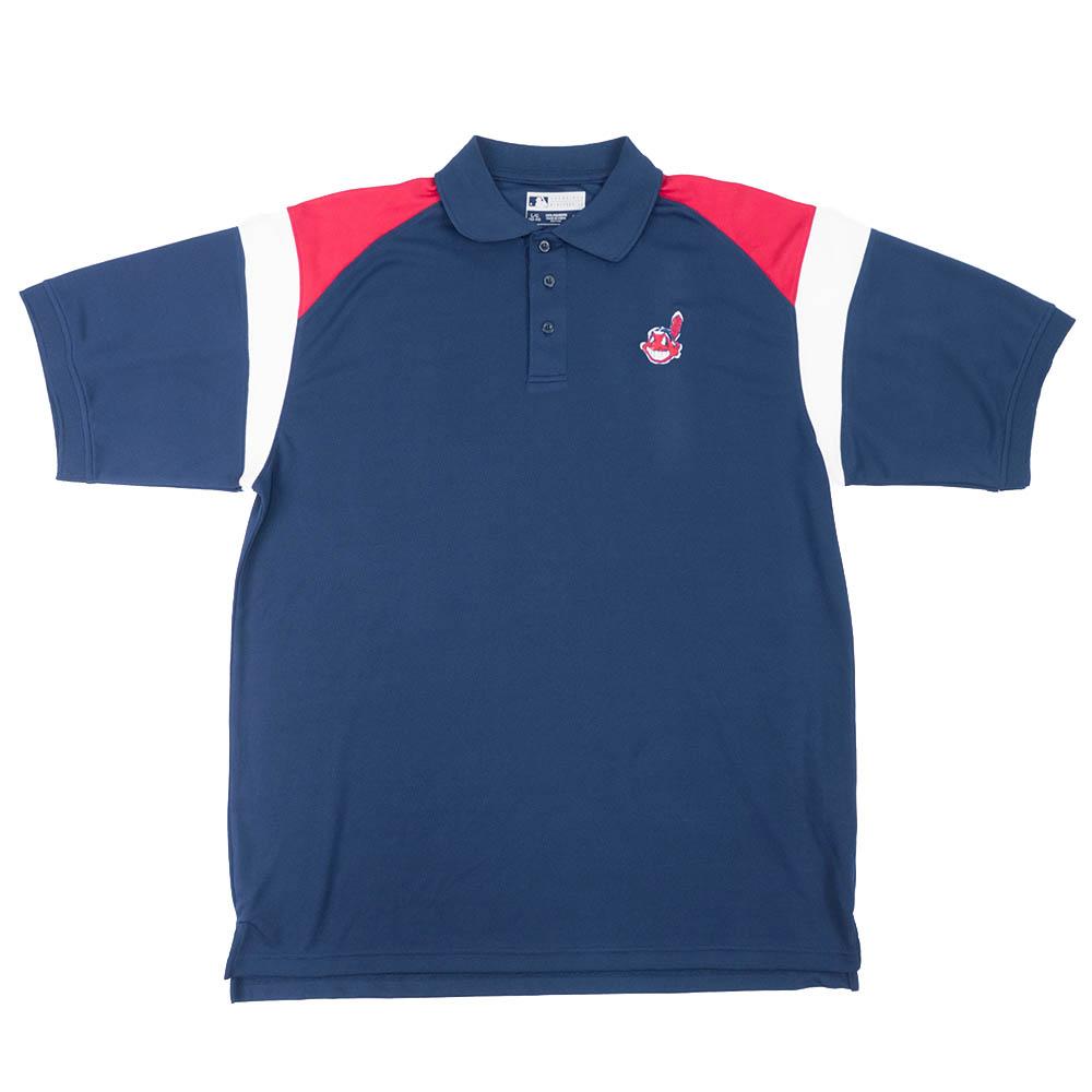 MLB クリーブランド・インディアンス Logo S/S ポロシャツ ワフー酋長 Ture Fan ネイビー