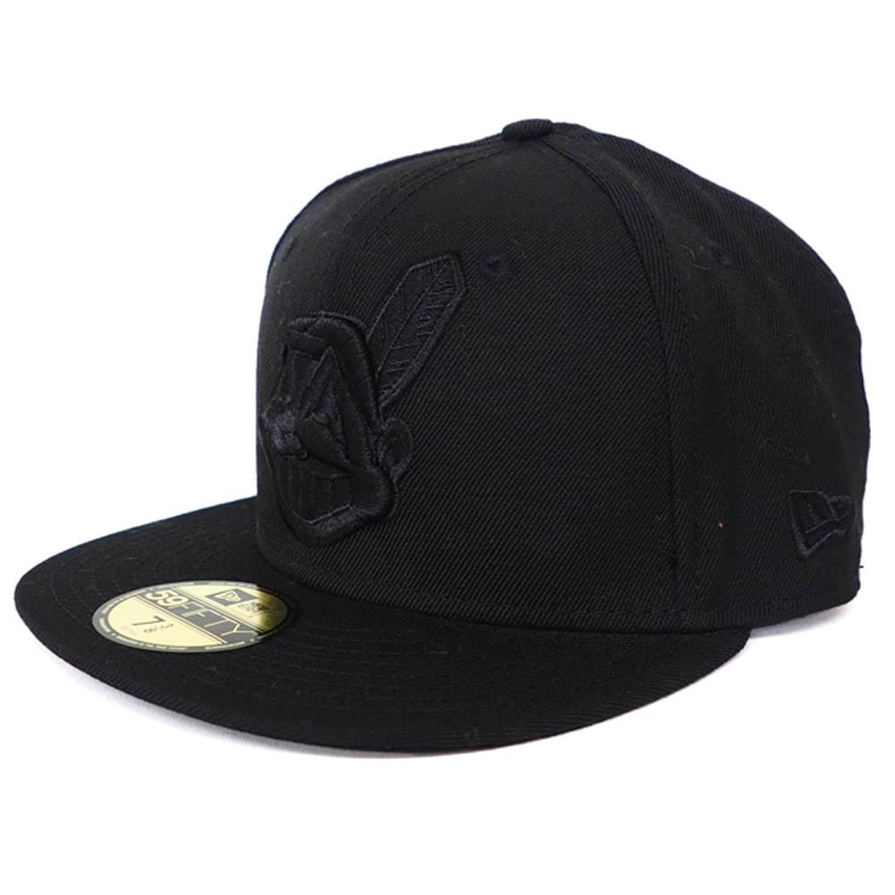 品質保証 あす楽対応 レアな総黒カラーリング ワフー酋長デザインキャップ インディアンス 価格 キャップ MLB ニューエラ New Era オールブラック デッドストック ワフー酋長 59FIFTY Hat Black Fitted on