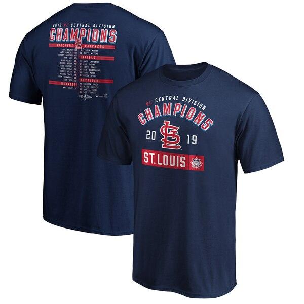 MLB セントルイス・カージナルス Tシャツ 2019 ナショナルリーグ中地区優勝 ロースター マジェスティック/Majestic ネイビー【MLBポストシーズン2019】【1112】