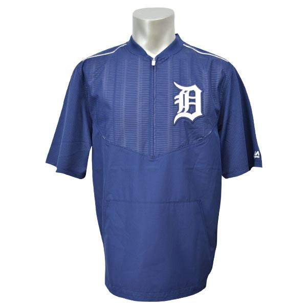 MLB タイガース ジャケット ネイビー/ホワイト マジェスティック 2015 On-Field ショート Sleeve Training ジャケット