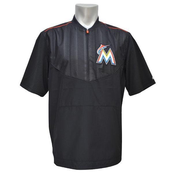 MLB マーリンズ ジャケット ブラック マジェスティック 2015 On-Field ショート Sleeve Training ジャケット【1810MLB】