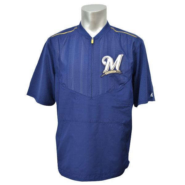 MLB ブリュワーズ ジャケット ネイビー マジェスティック 2015 On-Field ショート Sleeve Training ジャケット