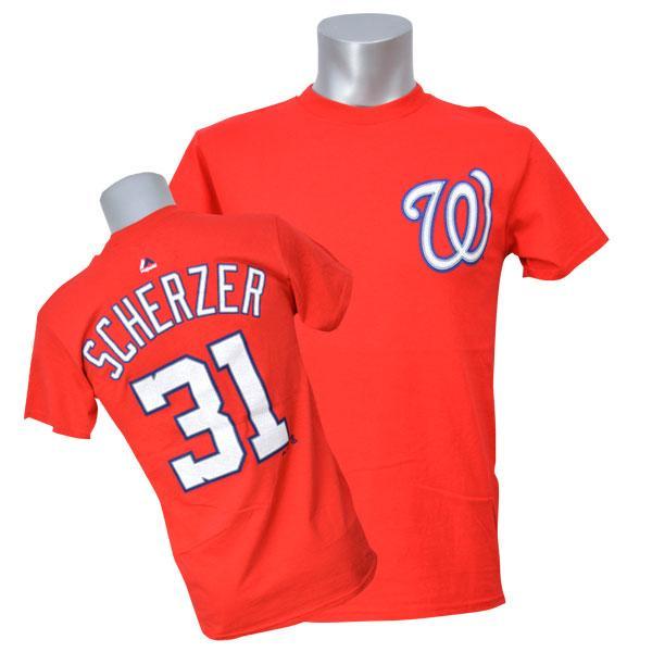 ワールドシリーズ進出 MLB ナショナルズ マックス・シャーザー Tシャツ レッド マジェスティック Player Tシャツ【1910価格変更】【1112】