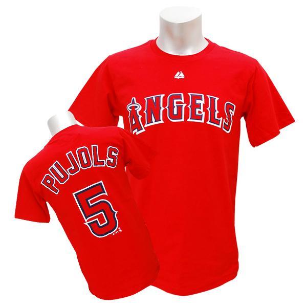 MLB エンゼルス アルバート・プホルス Tシャツ レッド マジェスティック Player Tシャツ【1910セール】【1112】