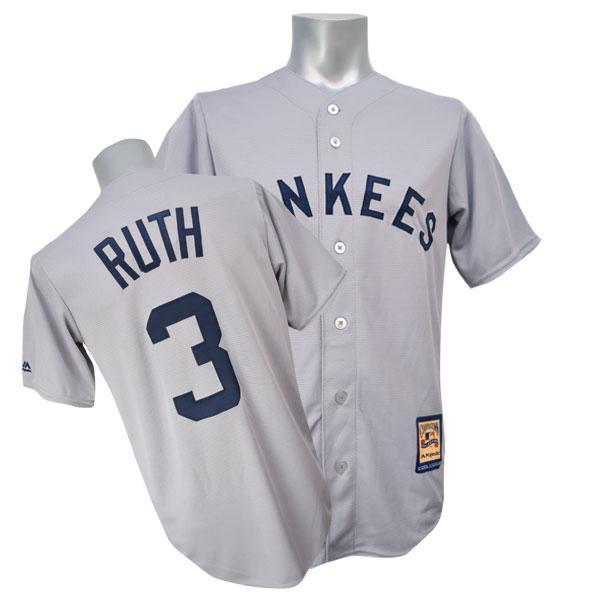MLB NBA NFL Goods Shop  MLB Yankees Babe Ruth uniform road Majestic ... cb8681b6e