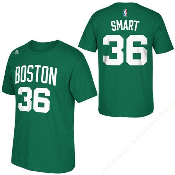 buy online e328d 33e3c NBA Celtics Marcus smart T-shirt Kelly green Adidas NET NUMBER T-shirt