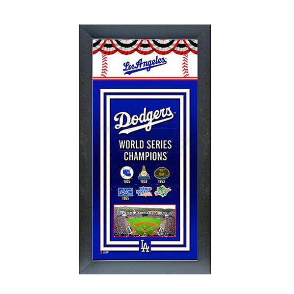 お取り寄せ MLB ドジャース フォト ファイル/Photo File Framed Championship Banner - 14.5 x 27.5