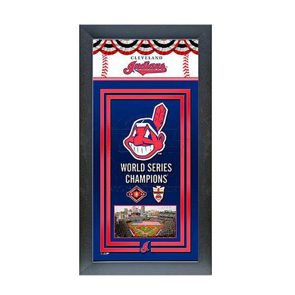 お取り寄せ MLB インディアンス フォト ファイル/Photo File Framed Championship Banner - 14.5 x 27.5【ワフー酋長ロゴ】