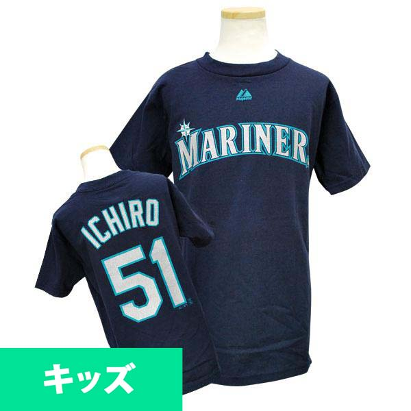 MLB Mariners Ichiro Kids T Shirt Navy majestic Player T shirt Youth
