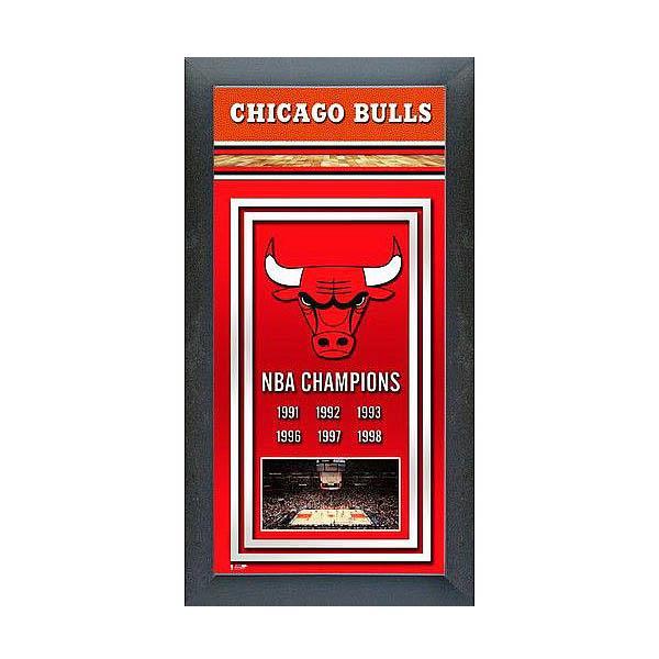 お取り寄せ NBA ブルズ フォト ファイル/Photo File Framed Championship Banner - 14.5 x 27.5