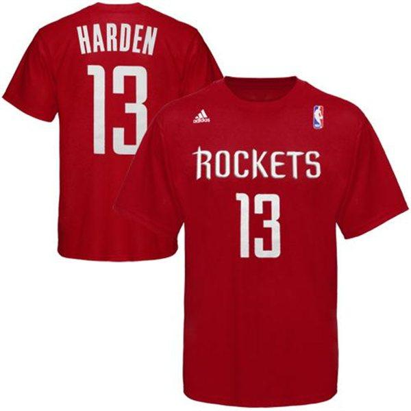 size 40 b6bf1 46428 NBA rockets James Harden T Shirt red adidas /Adidas (NET NUMBER TEE)