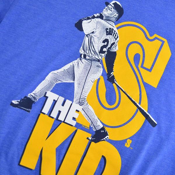 美国职棒大联盟水手 Ken Griffey JR。 耐克库珀斯敦三混合海报球员 T 恤,T 恤蓝色