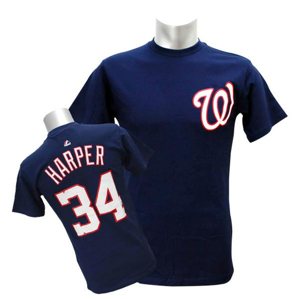 buy popular 46555 92f2d / MLB nationals Bryce Harper T Shirt Navy majestic /Majestic (Player Tee)